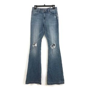 Sun and Shadow Flare Distressed Destroyed Jeans